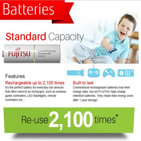 Fujitsu Rechargeable AA  Ready to use Battery 2000mah (2100 cycle) 2pcs Pack (HR-3UTCEX(2B)