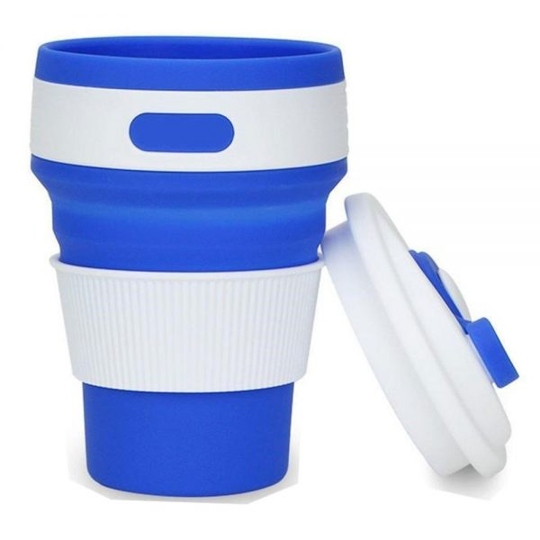 Delly 350ML Collapsible Silicone Foldable Coffee Cup Reusable Mug Leak Proof For Travel Blue CSF-35B