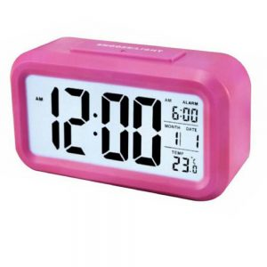 DELLY LED Digital Clock Time With sensor light Calendar & Thermometer Alarm - Pink