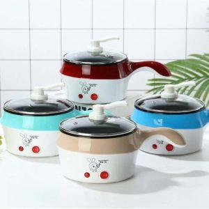 Delly Life Electric NonStick Ceramic/Marble Frying Pan Rice Multi Mini Rice electric frying pan noodle pot-Khaki LEN-K