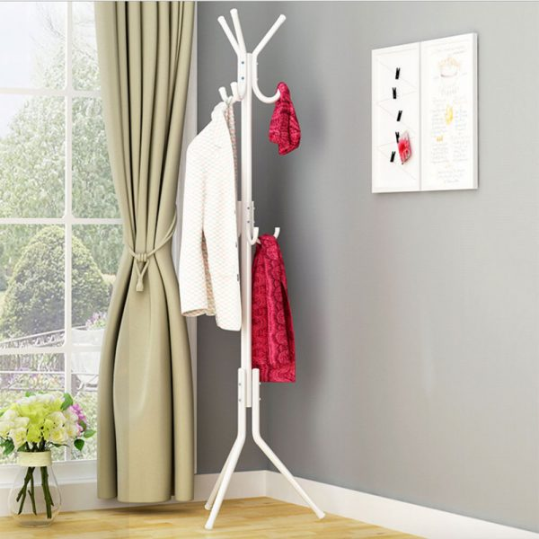 Delly Solid Metal Coat Hat Clothing Display Stand Rack Assembled Living Room Multi Hooks Hanging Clothes Black HCD-039BK