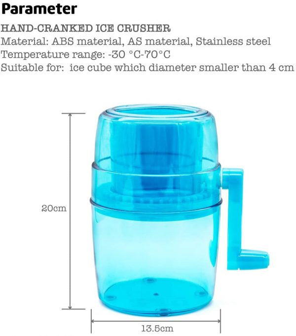 Delly Portable Hand Crank Ice Crusher ICI-B Ice Chopper Crush Ice Chop Ice Chip Ice Manual Ice Grinder Ice Chopper Mini Portable Ice Machine Domestic Ice Crusher for Children