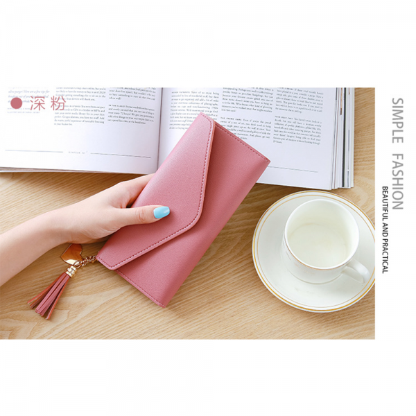 Delly Women Purse Fashion Korean Leather Wallet Long style Purse Zip Card coin Holder - Pink LWP-PK