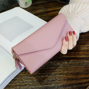 Delly Women Purse Fashion Korean Leather Wallet Long style Purse Zip Card coin Holder - Light Pink LWP-LPK