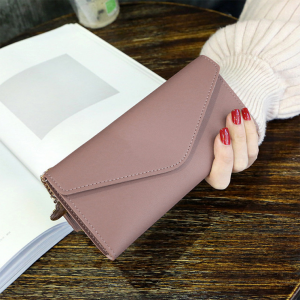 Delly Women Purse Fashion Korean Leather Wallet Long style Purse Zip Card coin Holder - Brown LWP-BR
