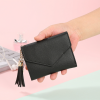 Delly Women Purse Fashion Korean Leather Wallet Short style Purse Zip Card coin Holder - Black SWP-BK