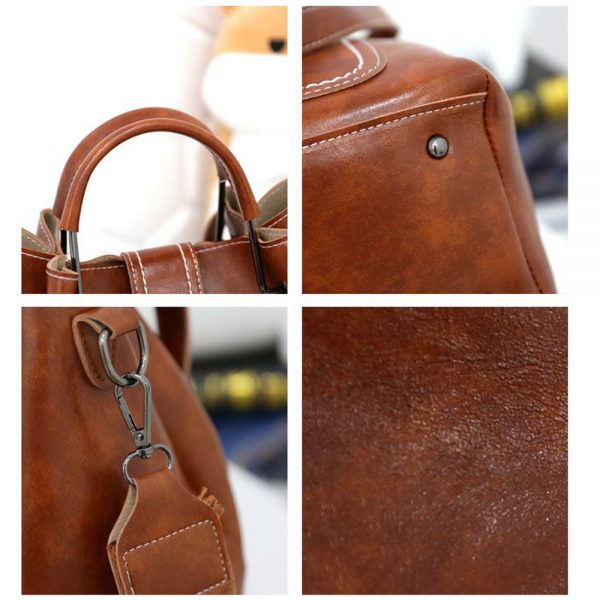 Delly 3 in 1 Fashion Women Leather Handbag wallet pouch Ladies Shoulder bag LHW-3B Brown
