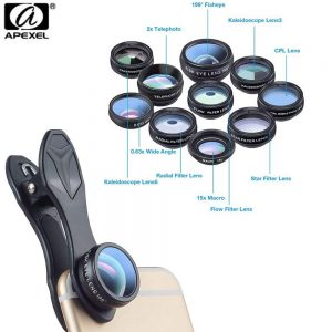 Apexel 10in1 Phone camera Lens Kit Fisheye Wide Angle macro 2X telescope Lens (APL-DG10)
