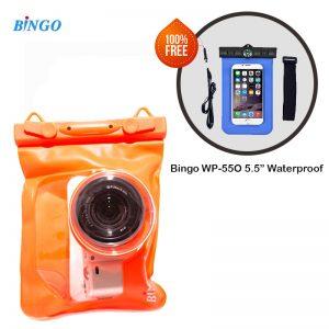 "Bingo WP 0119 Waterproof Case for Mirroless Camera DSLR Free Mobile 5.5"" case  (Orange)"