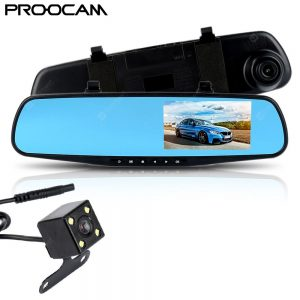 Proocam DRMC-4 DVR Dash Front Rear Mirror Back reverse Camera Video Recorder Vehicle Recorder 4.3 Inch 1080P Car