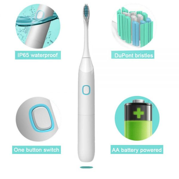 Delly Sonic Electric toothbrush Waterproof dupot bristles ultrasonic motor health -Black