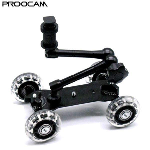 "Proocam MVD-01 with 11"" Magic Arm Medium Dolly video Skater Wheel Rolling Black For DSLR Camera Camcorder"