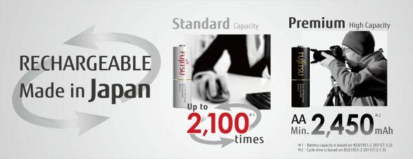 Fujitsu 4pcs AA 2500Mah rechargeable Battery (500cycle time) -HR-3UTHC Japan Version