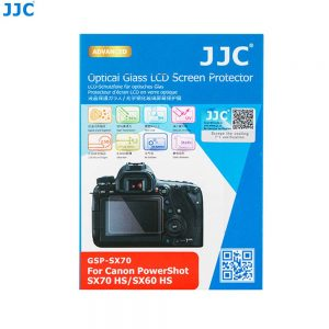 JJC GSP-SX70 Ultra-Thin 9H 2.5D Tempered Glass Clear LCD Screen Protector for Canon PowerShot SX70 Hs, SX60 Hs