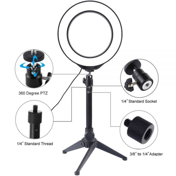 "Puluz 6.2"" Led Ring light Stand set kit USB 3 Modes Dimmable LED Ring Vlogging Photography Video Lights with Cold Shoe Tripod Ball Head PU377"