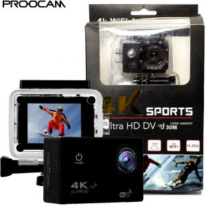 Proocam SJ70 Ultra HD 4K 2.4G WIFI Action Camera Phone for Travel Sport outdoor Set with accessories - Black