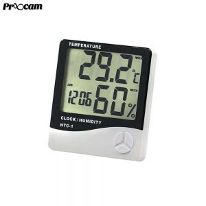 Proocam High Quality Digital Hygrometer , Thermometer with Clock New Slim HTC-1 Design