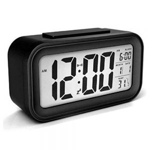DELLY LED Digital Clock Time With sensor light , Calendar & Thermometer Alarm - Black