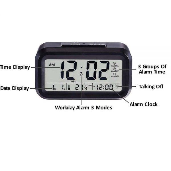 DELLY LED Digital Clock Time With sensor light , Calendar & Thermometer Alarm - Black