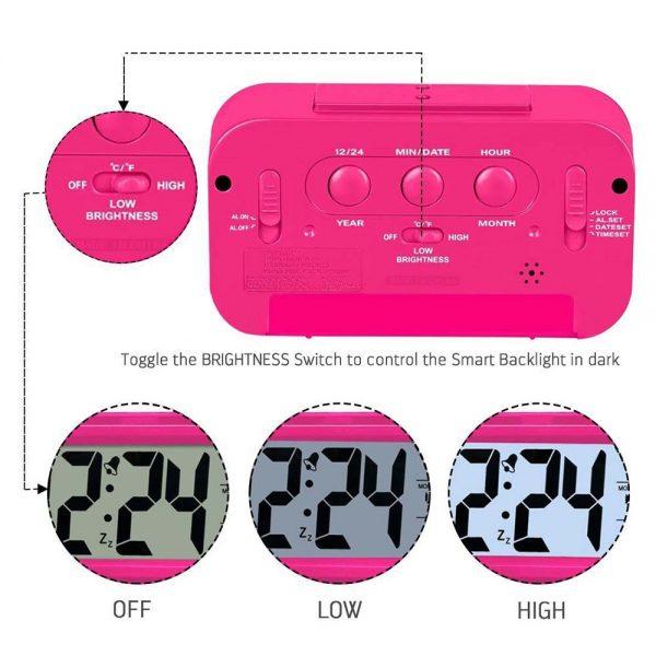 DELLY LED Digital Clock Time With sensor light Calendar & Thermometer Alarm - Pink