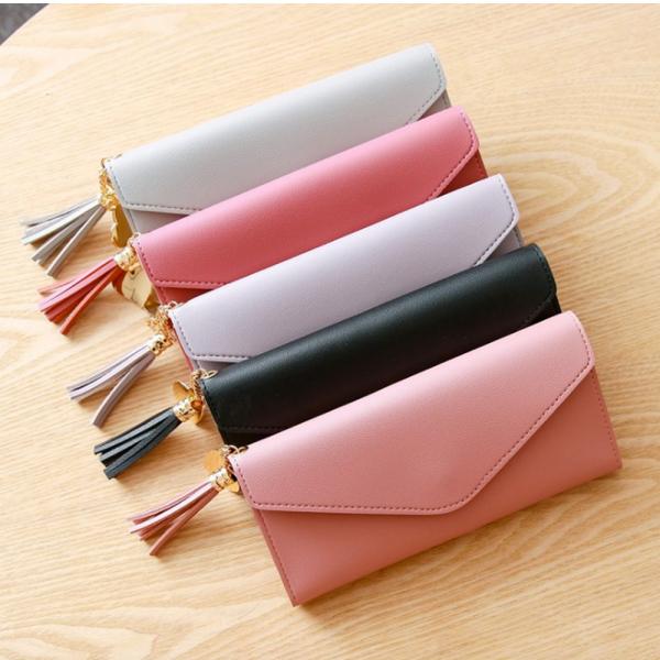 Delly Women Purse Fashion Korean Leather Wallet Long style Purse Zip Card coin Holder - Light Pink LWP-LPK