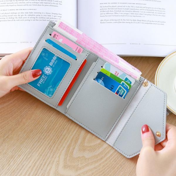 Delly Women Purse Fashion Korean Leather Wallet Short style Purse Zip Card coin Holder - light Pink SWP-LPK