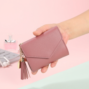 Delly Women Purse Fashion Korean Leather Wallet Short style Purse Zip Card coin Holder - Pink SWP-PK
