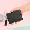 Delly Women Purse Fashion Korean Leather Wallet Short style Purse Zip Card coin Holder - Black SWP-BK