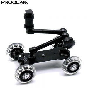 "Proocam MVD-01 with 11"" Magic Arm Medium Dolly video Skater Wheel Rolling Black For DSLR Camera Camcorder"