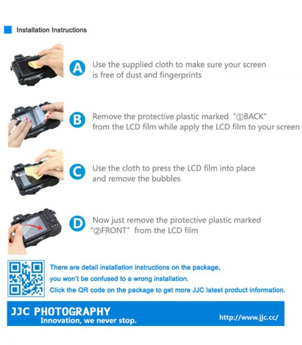 JJC LCP-TR500 LCD Guard Film Camera Screen Protector for Casio EX-TR500