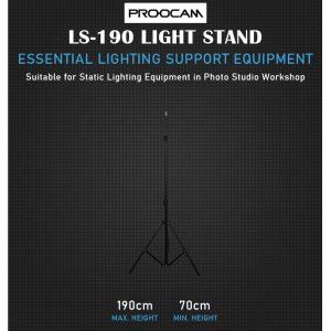 Proocam LS190 Adjustable Photography Light Stand for Studio (190cm)